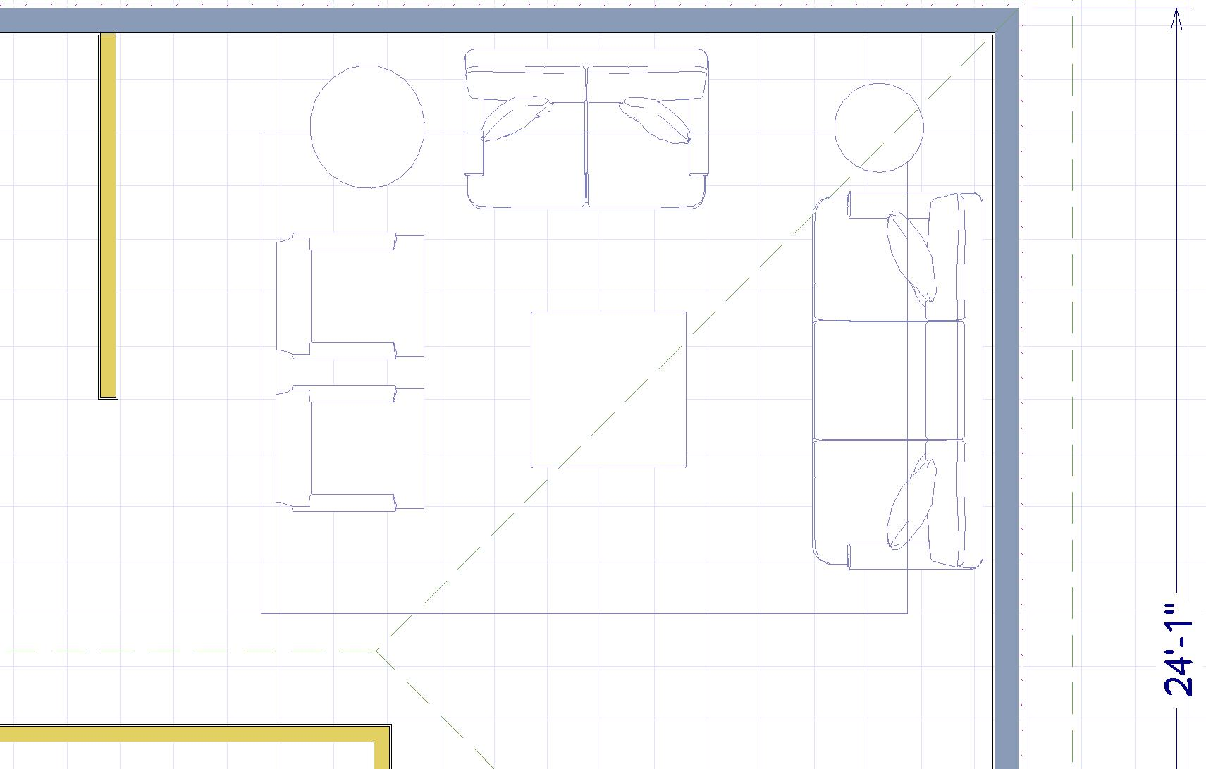 Proposed furniture layout. I do not have measurements of this room so this is a suggestion only. The second swivel chair may be too close to existing black chest of drawers. We would have to play with this layout before ordering any furniture. But this gives you a tighter conversation circle which is a good plan for a Living Room. We could do just one swivel chair and omit the existing two wing back chairs.