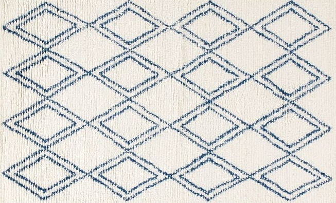 Area Rug: Navy diamond shag 8' x 10'