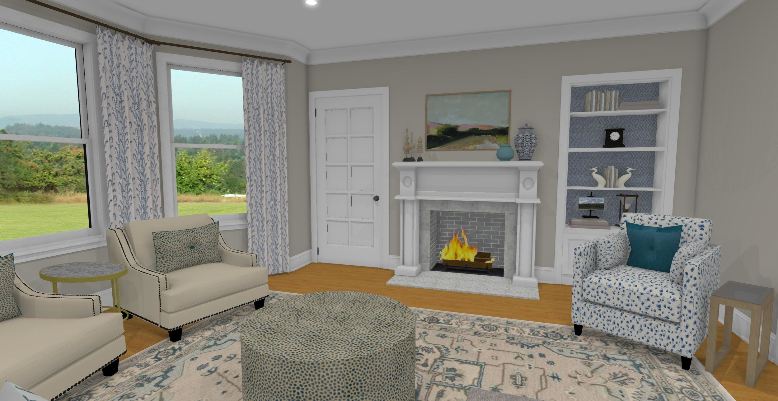 View towards Fireplace from Sectional