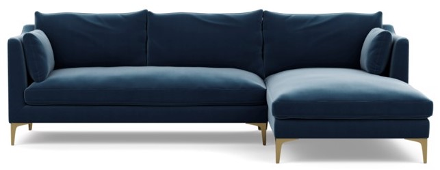 Chaise Sofa in blue velvet. Leather is an option also.