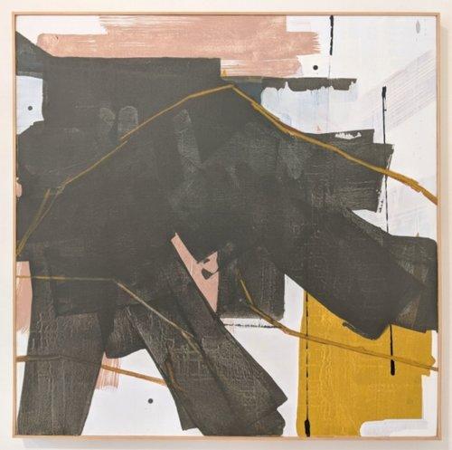 "Fireplace artwork - Anna Abueva ""Unheard"" 36"" x 36"""