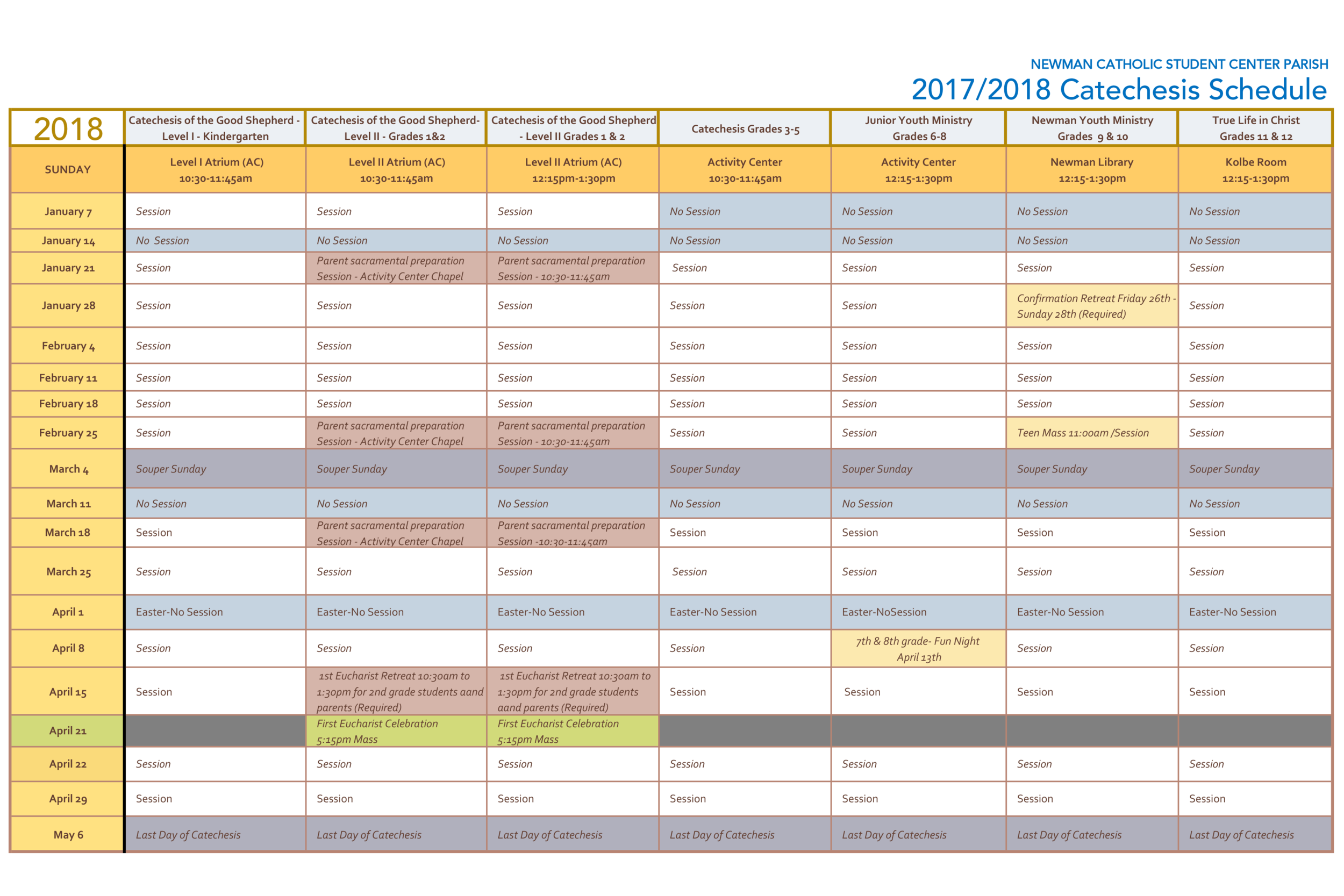 2018 Catechesis Schedule with key.png
