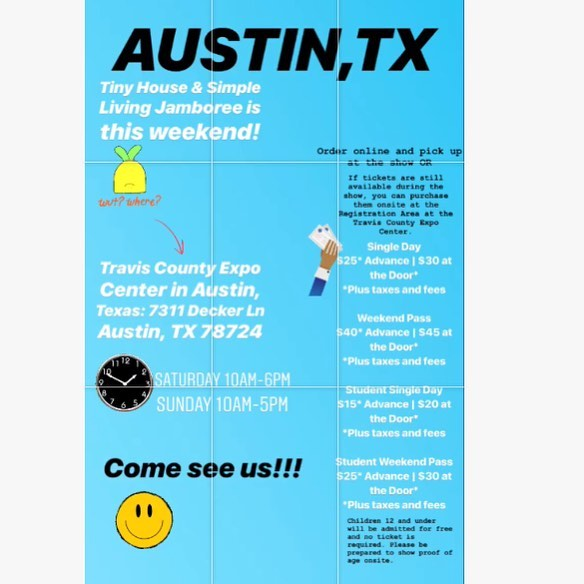 Tiny house & Simple Living Jamboree is this weekend in Austin, Texas🤘🏼 message us with any questions, hope to see y'all there!