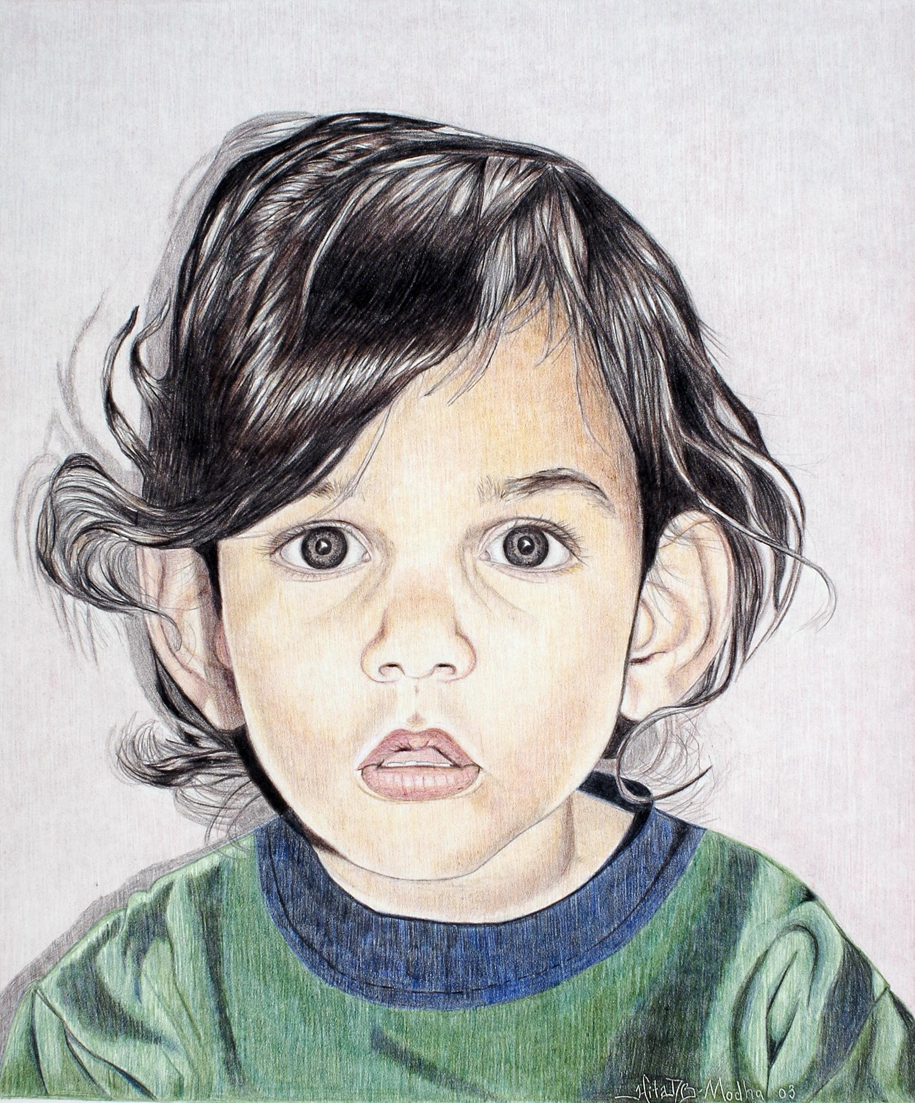 Portrait in colored pencil