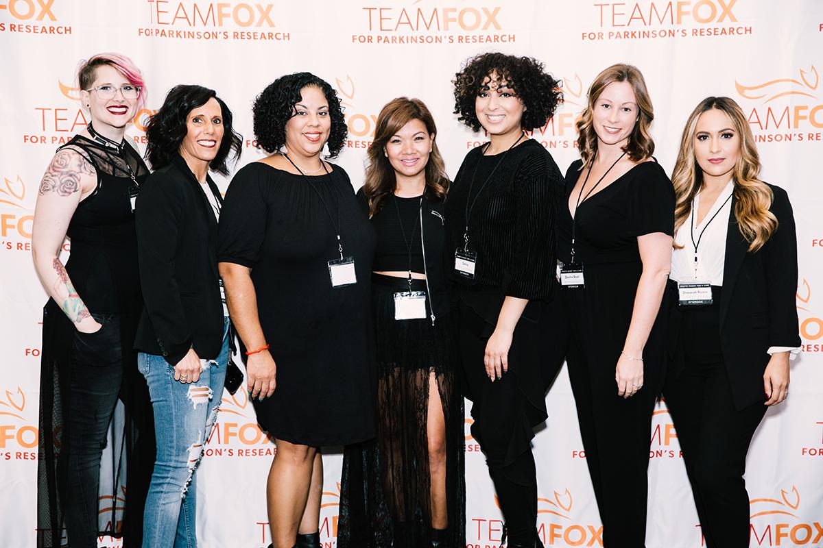 The hairstyling team from James Joseph Salon: Alyse Driskill, Denise Lavino, Rosa Diaz, Mary Chheng, Selina Sigaran, Davina Sicari, and Deborah Rivers. Photo by Natasha Moustache.