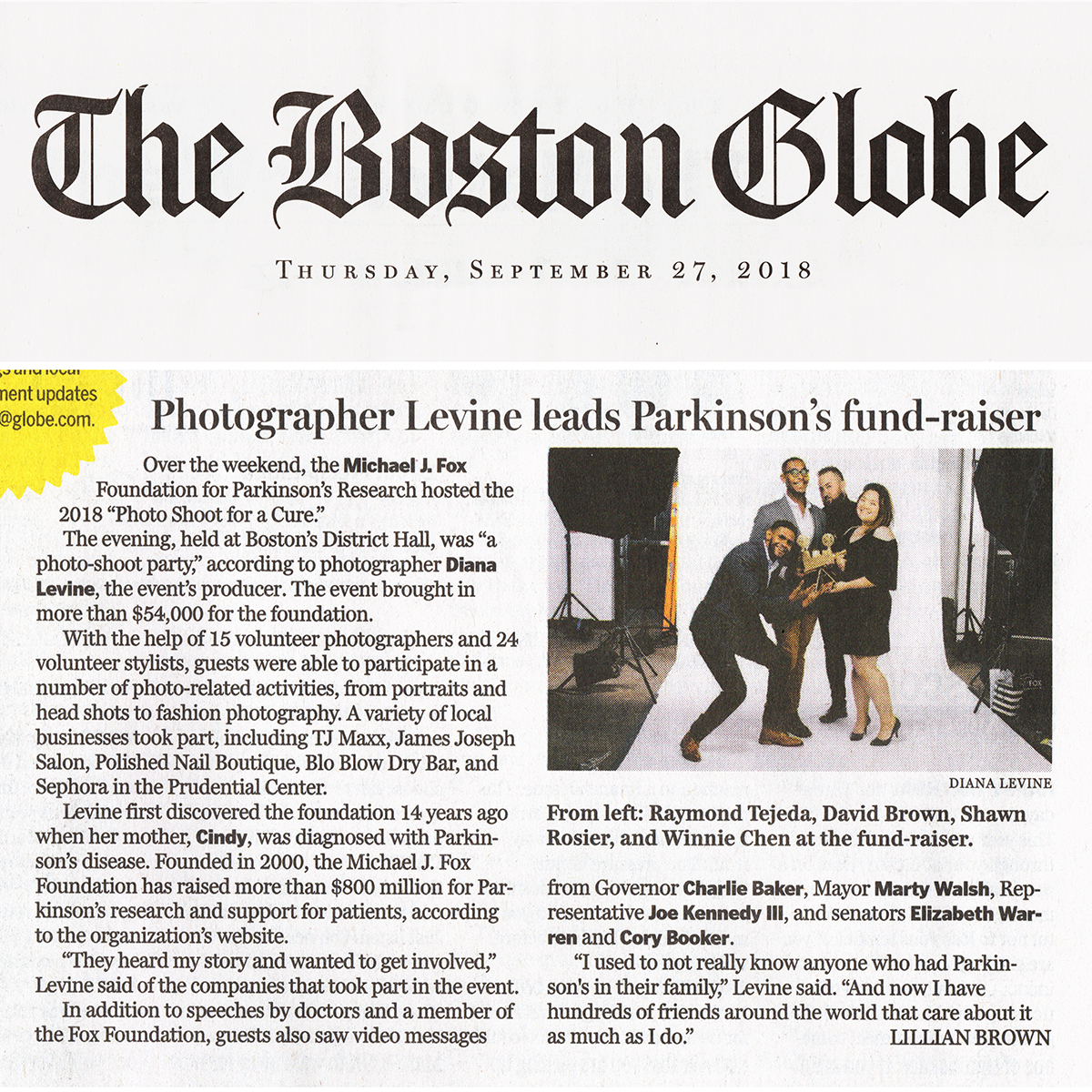 In the News — Photo Shoot for a Cure