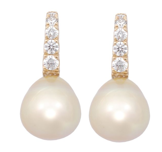 Golden Broome South Sea pearl studs in yellow gold with diamond set hooks.