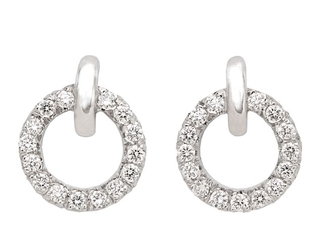 White gold studs with diamonds micro claw-set into circle.