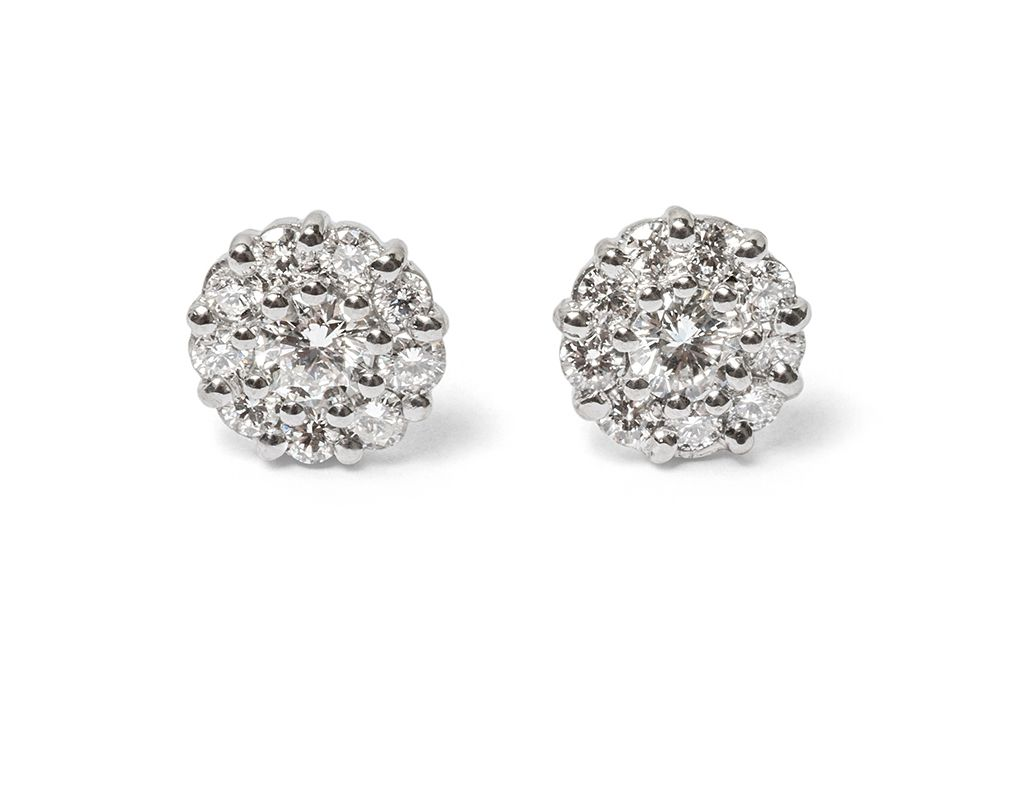 Diamond cluster studs in white gold.