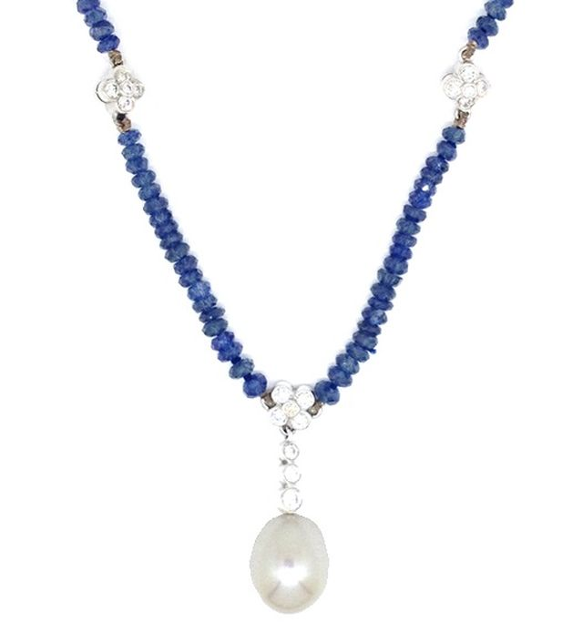 Sapphire faceted-bead necklace with South Sea pearl and diamond drop in white gold with diamond-set white gold spacers.