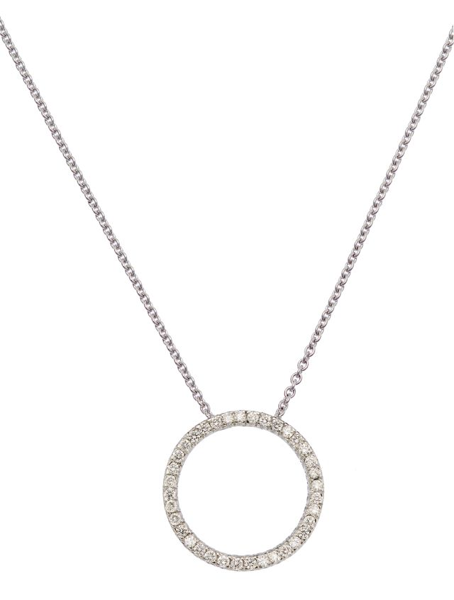 Diamond and white gold circle pendant.