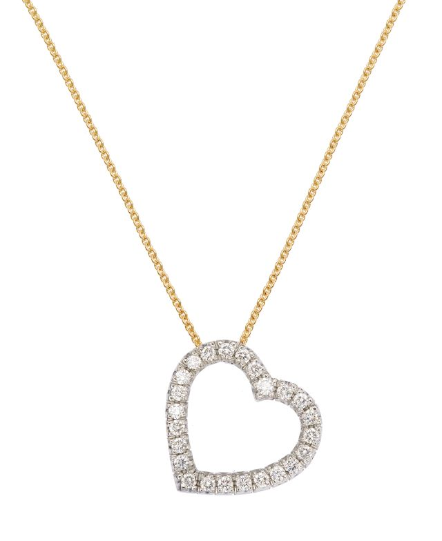 Heart-shaped diamond-set pendant on yellow gold chain.