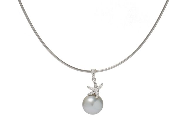 South Sea pearl pendant with diamond-set starfish and bail in white gold.