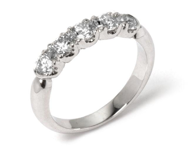 5 diamonds margo-set into white gold band