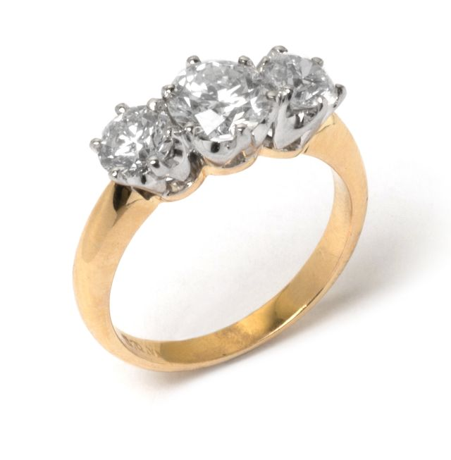 Trilogy Diamond ring tudor setting in white gold with yellow gold band