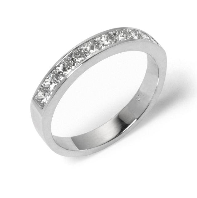 Diamond channel-set white gold band
