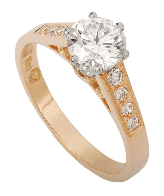 Yellow and white gold 6 claw Diamond set ring with 8 grain-set Diamond shoulders