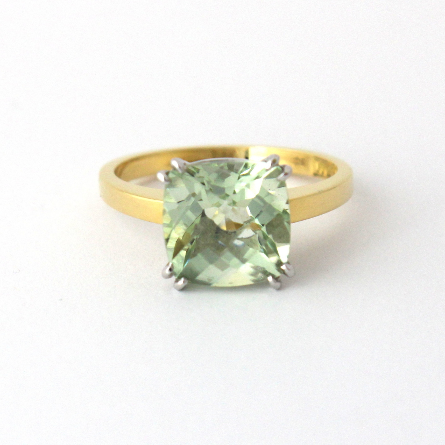 Chequerboard prasiolite (green quartz) set in yellow and white gold.