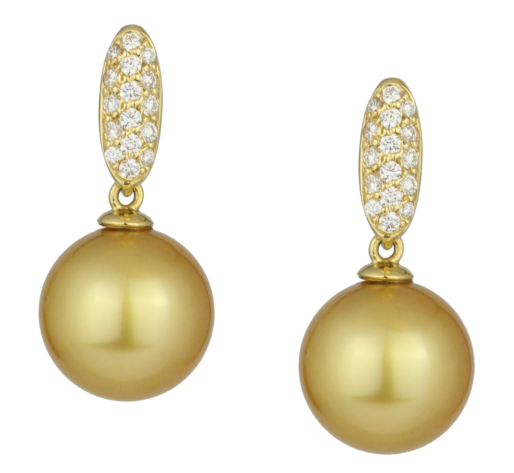Round golden south sea pearl earrings with diamonds in yellow gold.