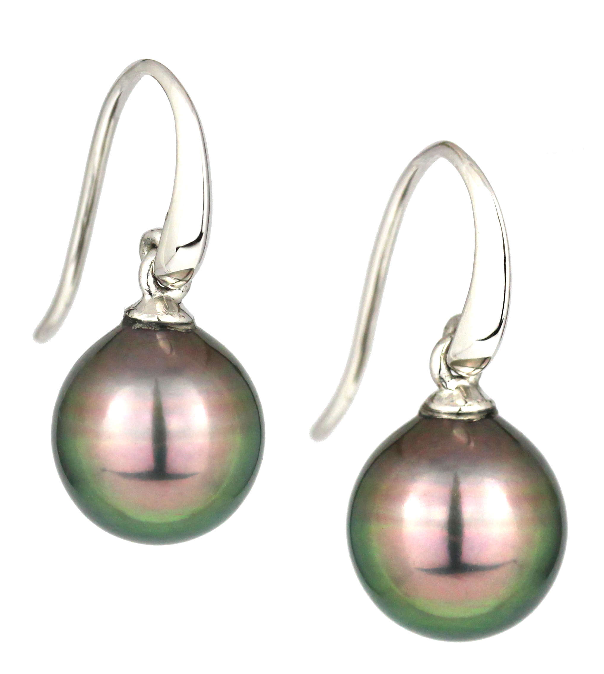 Grey tahitian pearl shepherd hook earrings in white gold.
