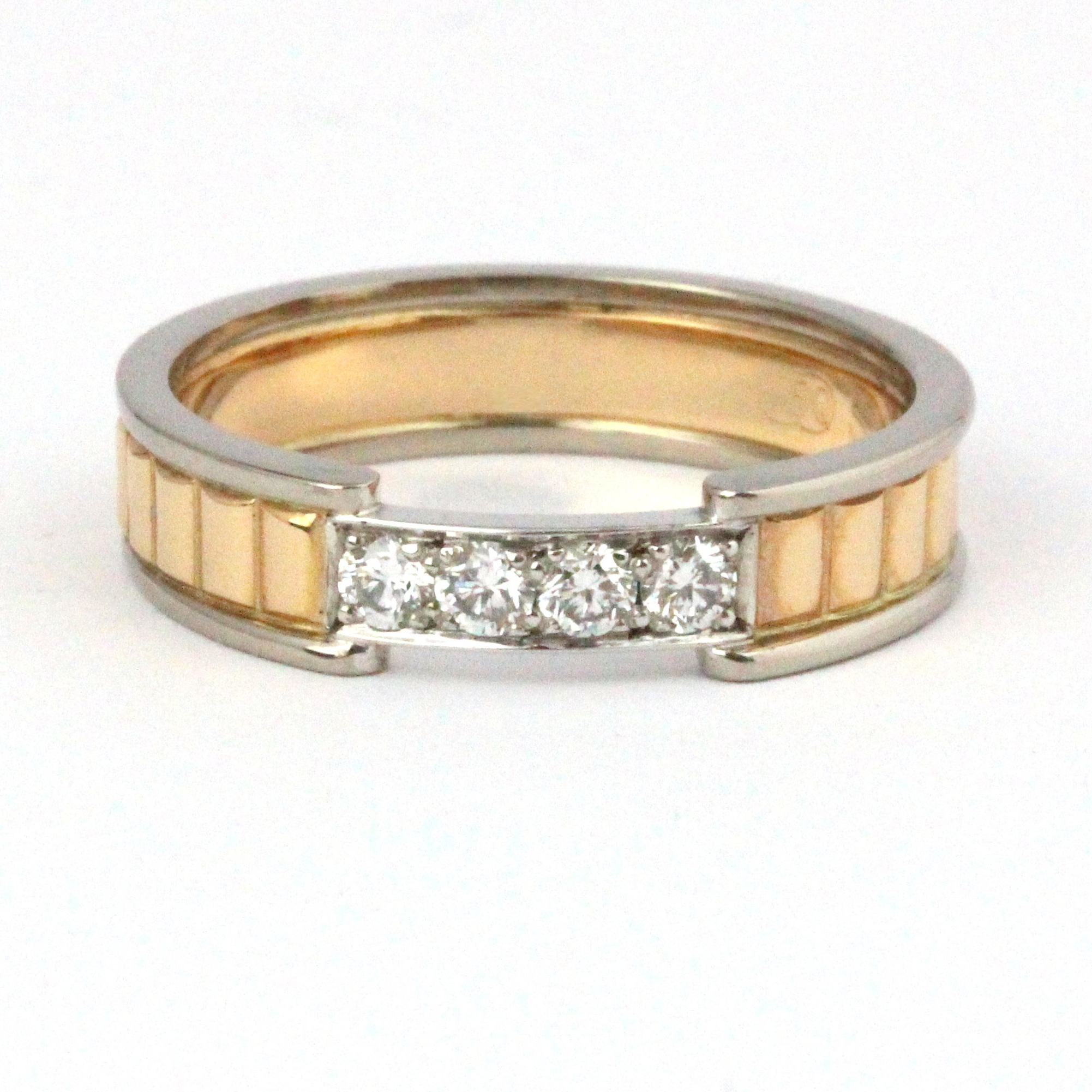 Rose and white gold ring set with diamonds.
