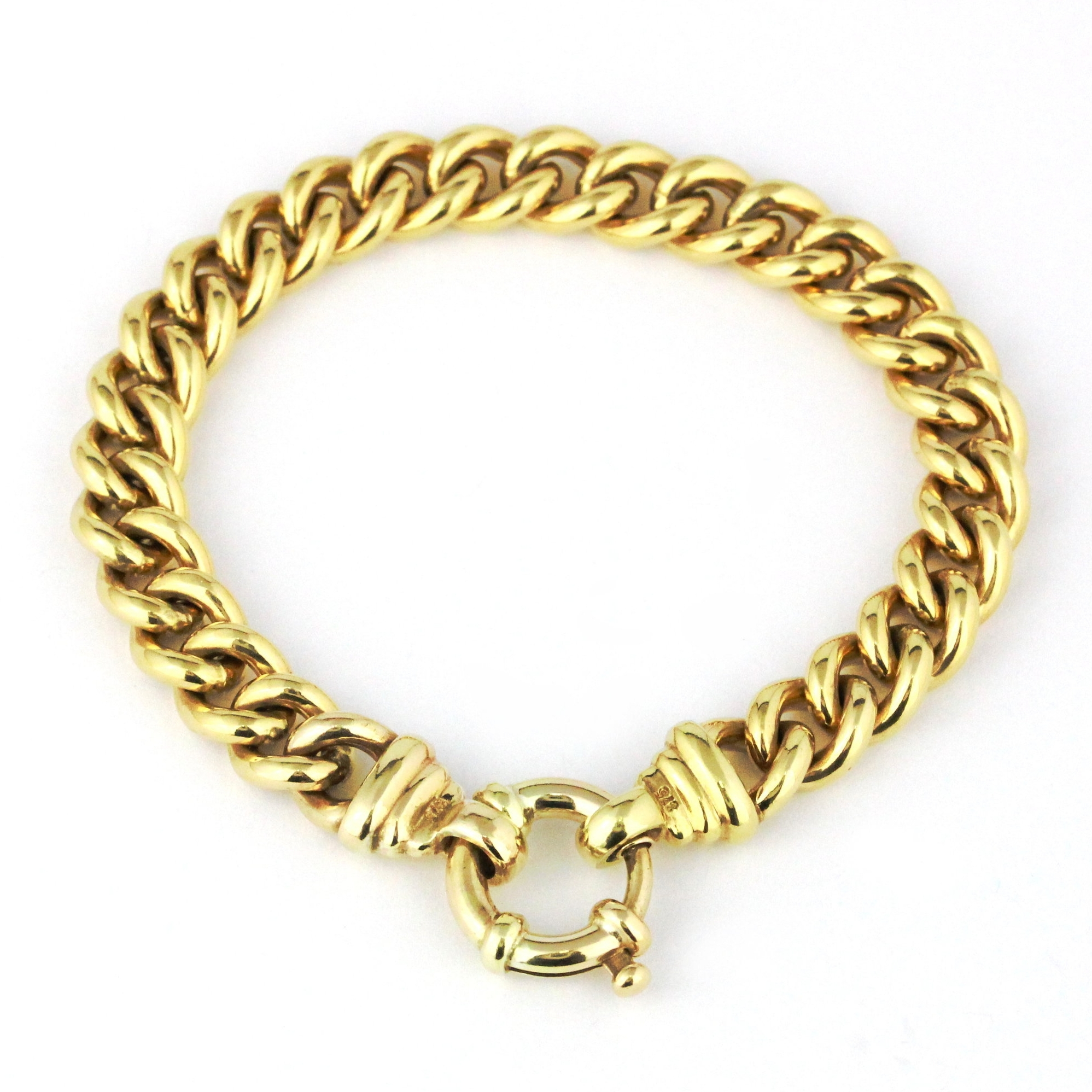 Yellow gold curb link bracelet with bolt ring.