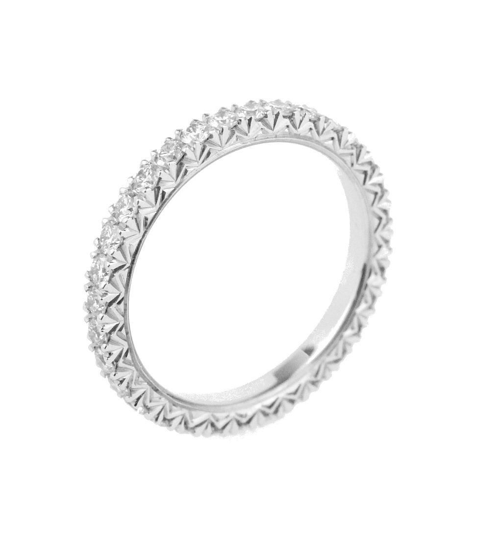 French-set eternity ring in 18 karat white gold