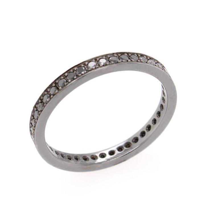 Black diamond eternity ring in 18 karat white gold with black rhodium