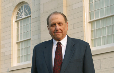 President Monson at the Nauvoo Temple