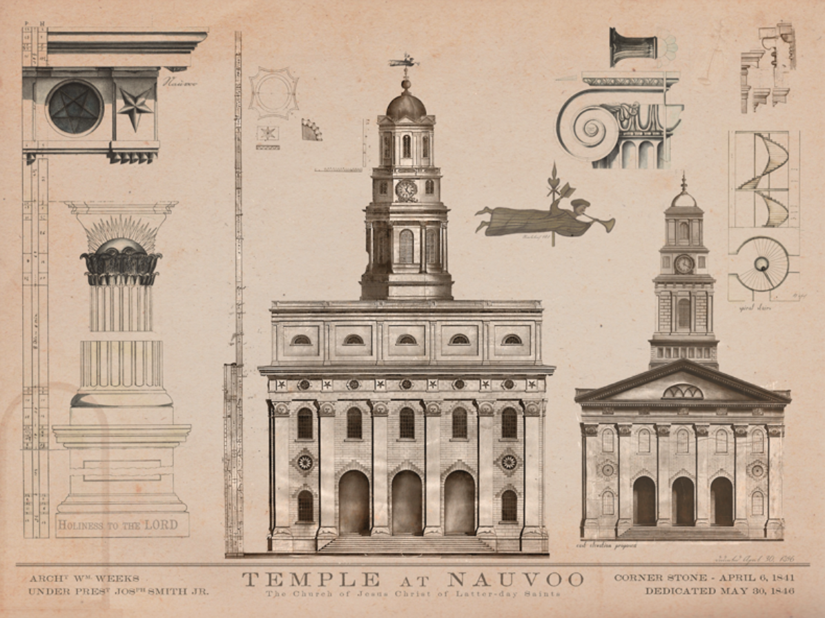 Nauvoo Temple LDS Art construction10.png