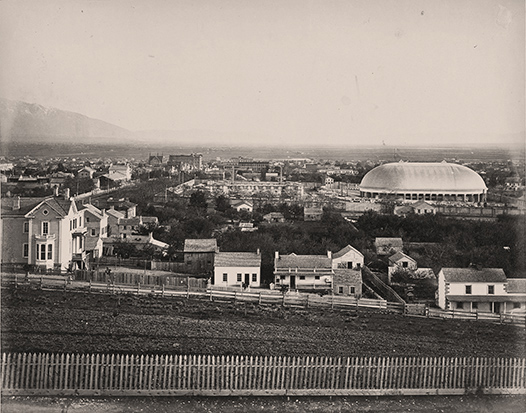 [View of Salt Lake Tabernacle and city]