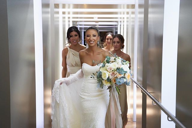 Her smile says it all ! Beautiful @emmivelli with her gorgeous bridesmaids! Thanks so much for sharing the professional photos ❤️ Photography : @rosa_photography_melbourne  Dresses: @allurebridals @raffaeleciucabridal @_bridesofmelbourne . . #destiny_blooms #weddingflorist #weddingflowers #melbournewedding #clientdiaries