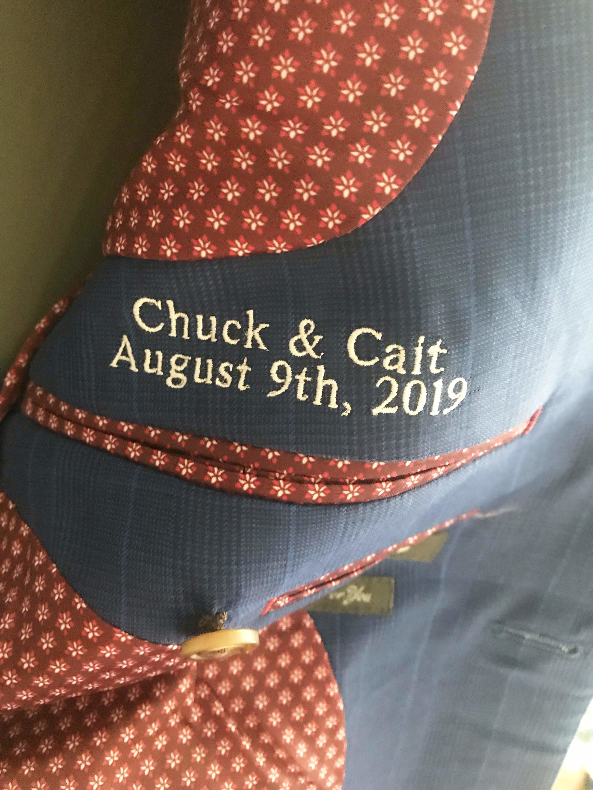 The lining, and a custom embroidered message.