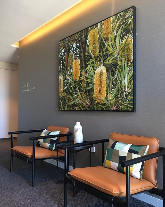 our latest project...bold and uplifting... welcome to Level 4 Lift Lobby, Aveo Bella Vista residents @designbybrutus @derlindesign Featuring art by Dean Reilly @redhillgallery and furniture by @stylecraftfurniture @jardanfurniture #interiordesign #multiresidential #independentliving #interiordesigner #liftlobby #fineart #styling #vibrant #colourpop #customfurniture #fabric #wallpaper #texture #carpettile #sydney #aveobellavista #designbybrutus