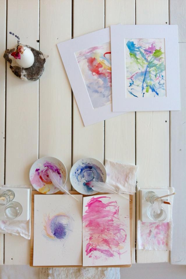 Ashley Dawn Logan   Honeybee Art Studio Red Deer   Childrens Watercolor Painting Using Feathers