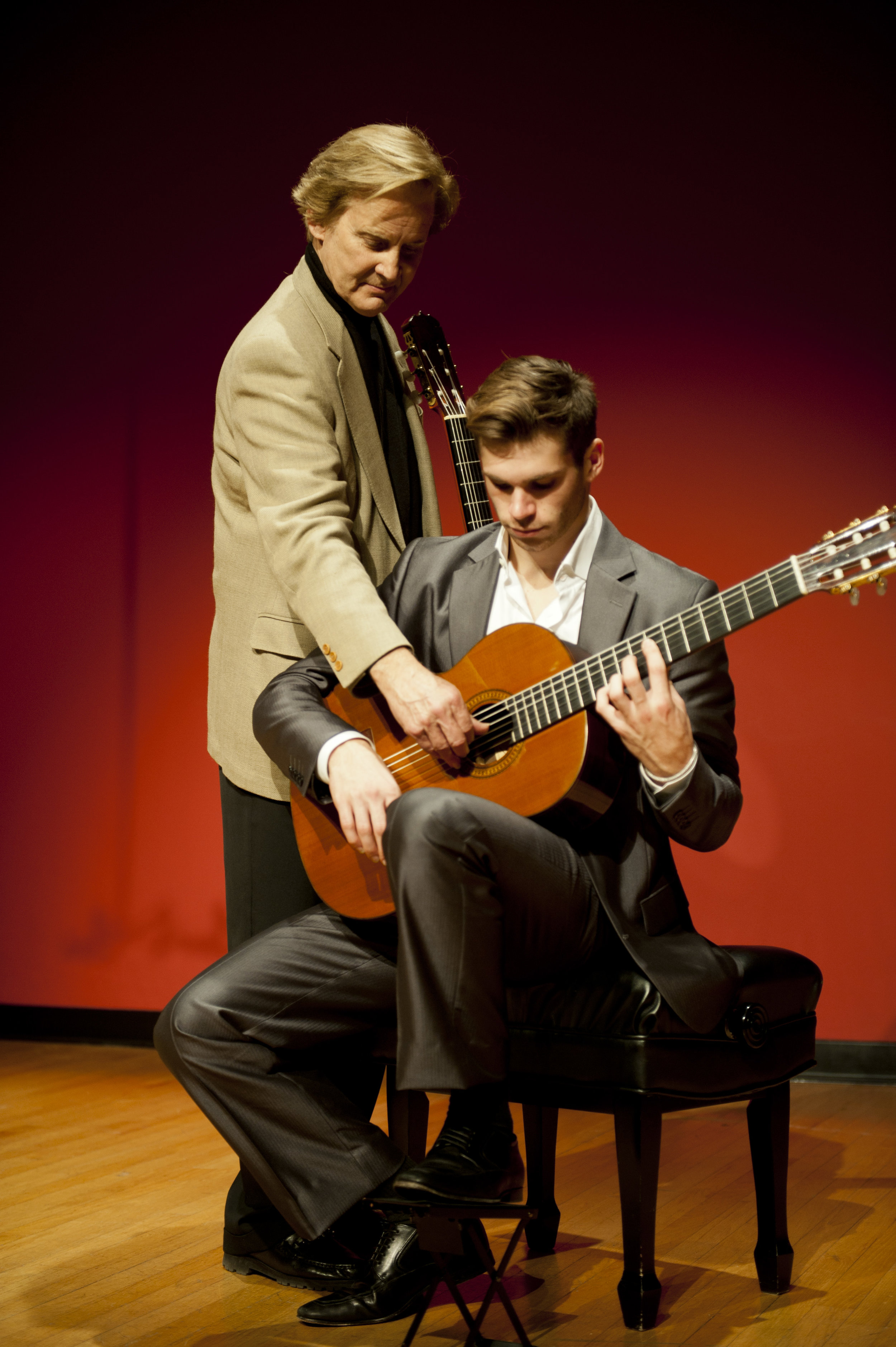 Christopher Parkening with student Kevin Enstrom at Pepperdine University.