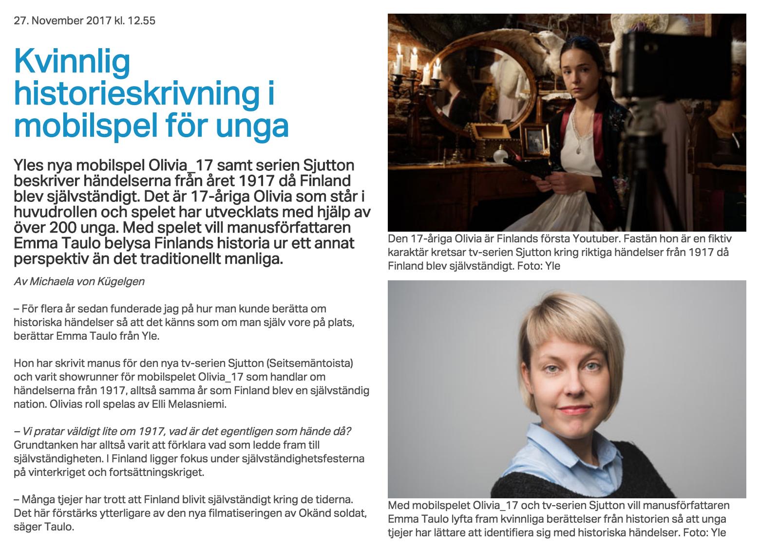 - Nordvision 27.11.2017: Kvinnlig historieskrivning i mobilspel för unga