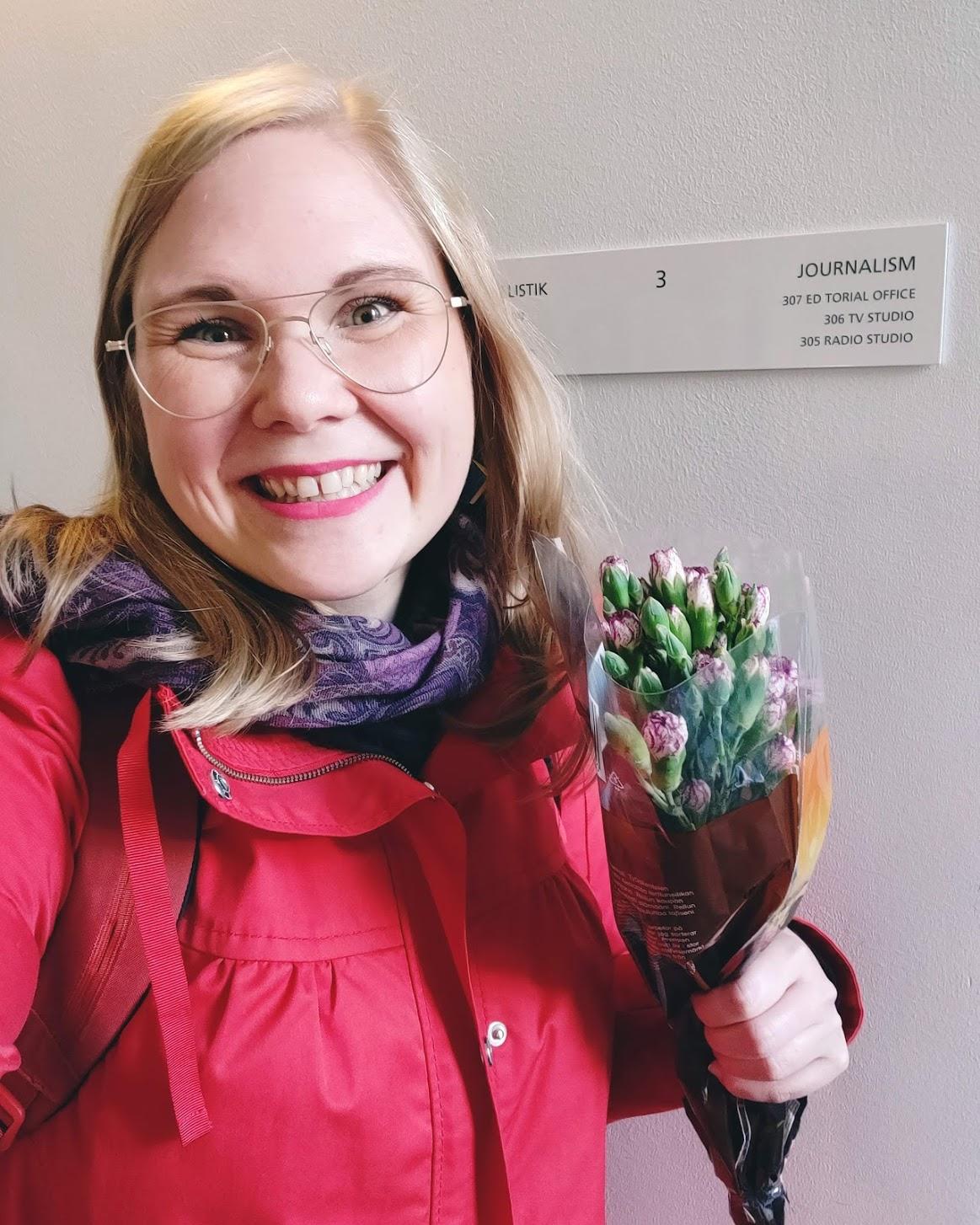 Fick blommor som tack, blev jätteglad!