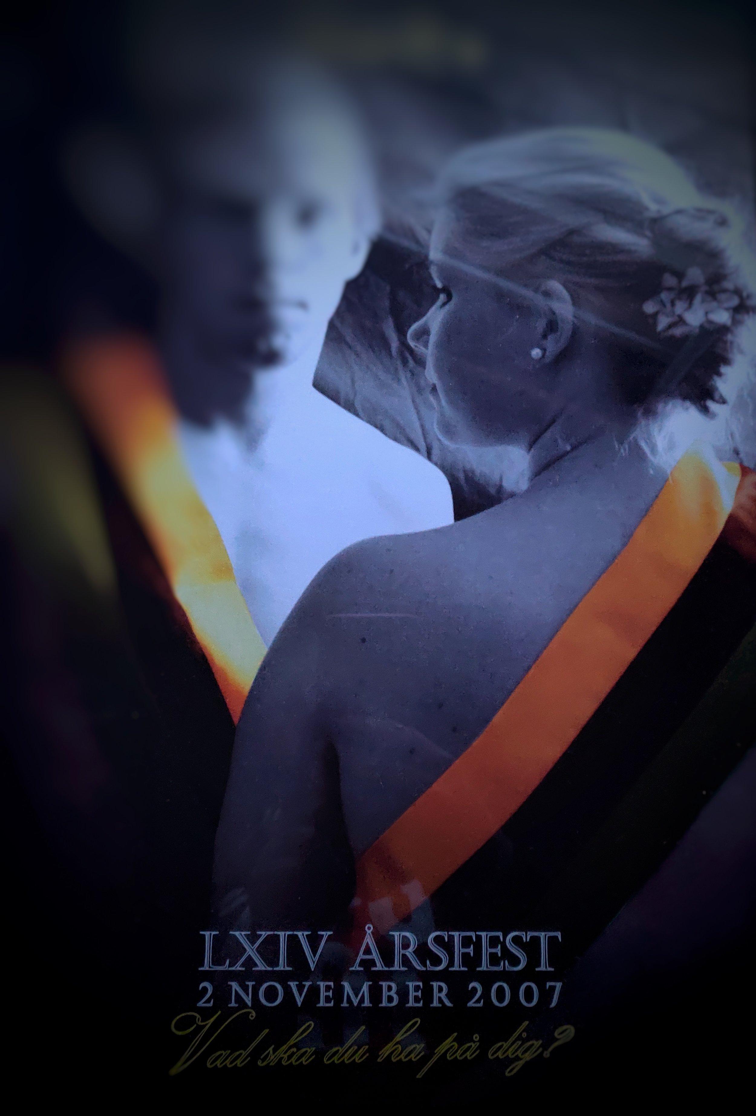 """Reklam för StudOrgs årsfest 2007. Hade glömt bort denna, men hittade den på landet. Liksom """"naken""""reklam, haha!"""