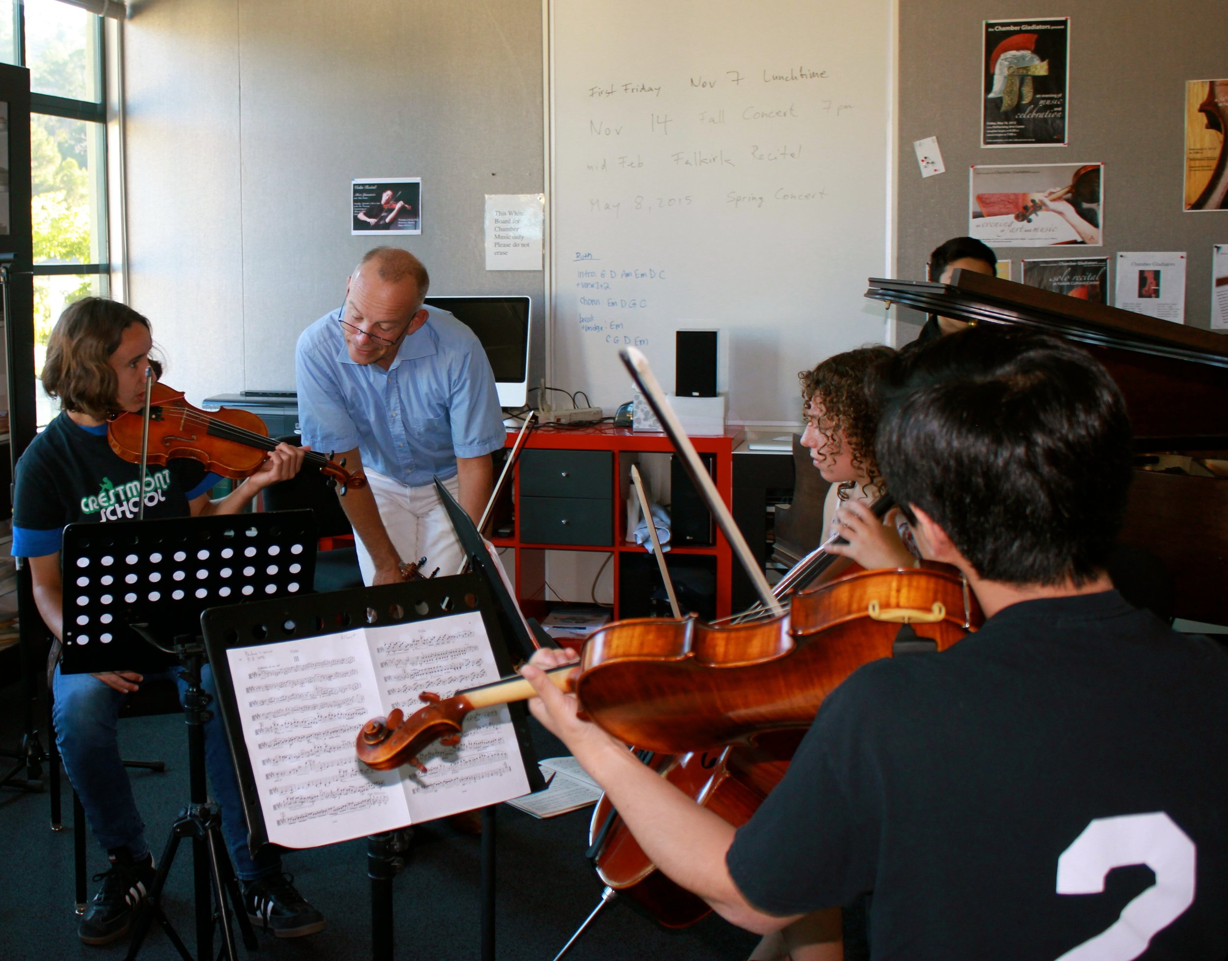 MA chamber music work in classroom