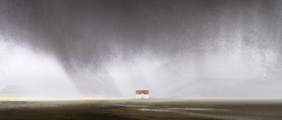 a small deserted house in mist ~