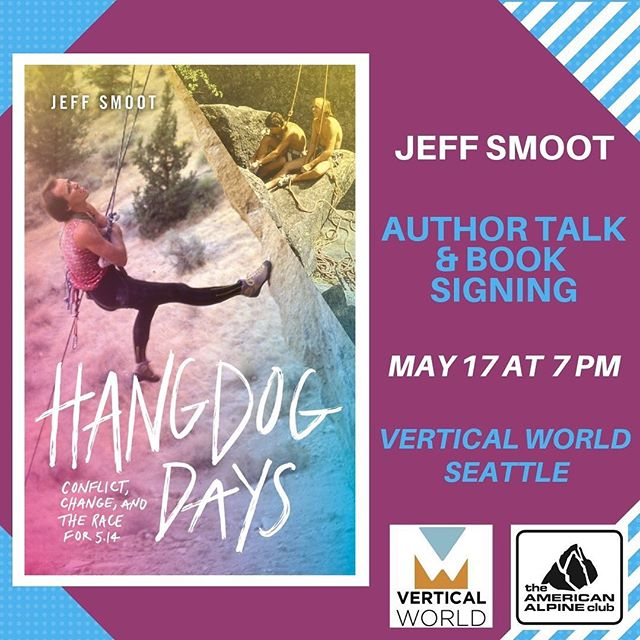 "We're co-hosting a book talk tonight at Vertical World Seattle! Come hang with the AAC & Mountaineers to hear stories from climbing author Jeff Smoot's new book ""Hangdog Days"" which chronicles the era when rock climbing exploded in popularity, attracting a new generation of talented climbers eager to reach new heights via harder routes and faster ascents. ⠀ ⠀ #hangdogdays #aacgram #climbing #mountaineersbooks #verticalworld #americanalpineclub #bookreleaseparty @vw_seattle @mountaineersorg"