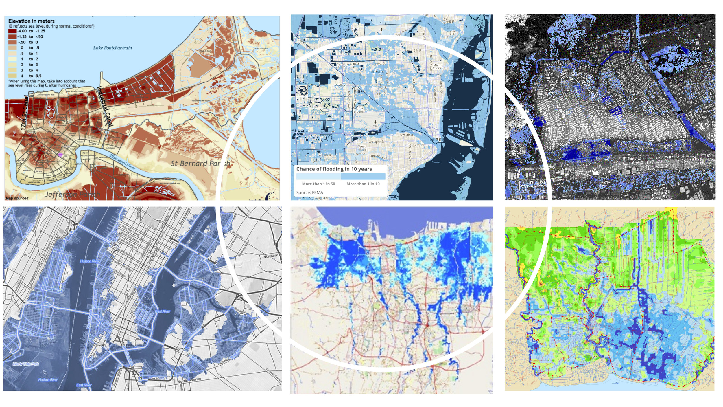 Flood maps showing the similarities between cities in flood zones