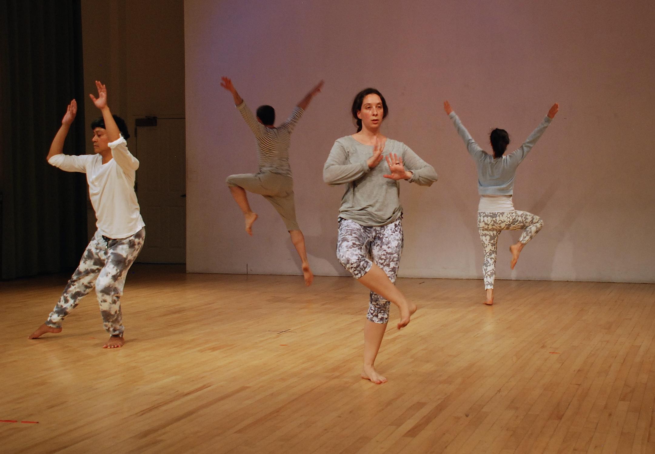 Annie Sailer Dance Company performing 'architecture of forgiveness' at Spyer Hall,University Settlement, NYC. 2015  Photo: Scott Tedman-Jones Dancers (L-R): Rod Rufo, Ty Tedman-Jones, Susan Golub, Heather Meagher