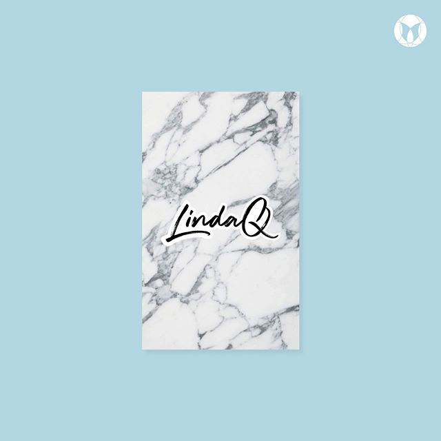 Front of business cards for a makeup artist. Minimal and clean. I wanted the marble and the logo to be the focus.