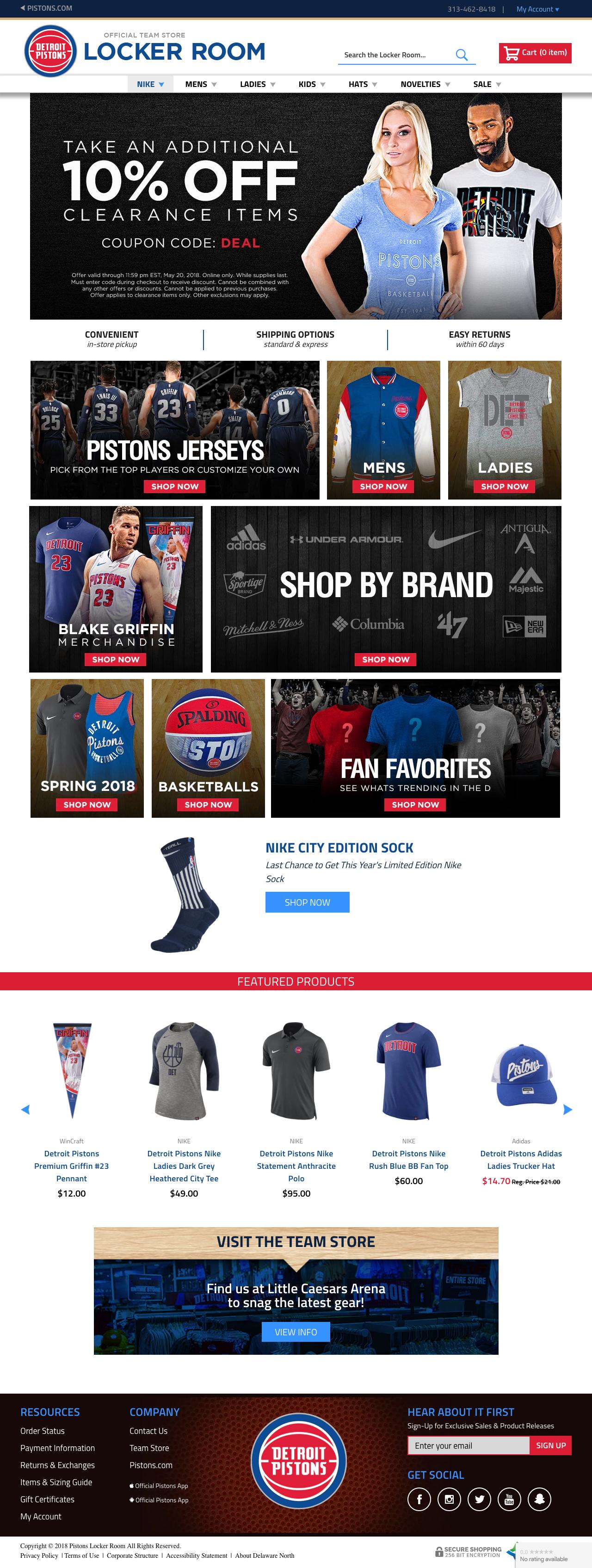 Detroit Pistons -  www.pistsonslockerroomstore.com
