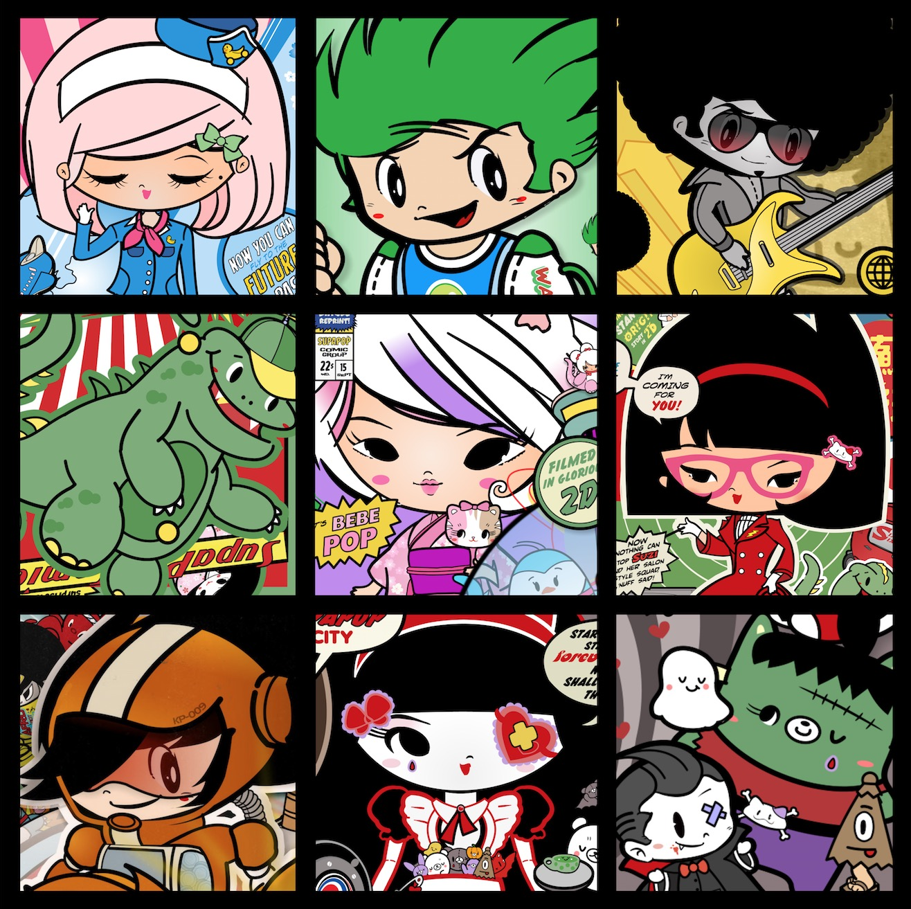 Assortment of some of the All-New  SupaPop City  characters, created by  Danconia