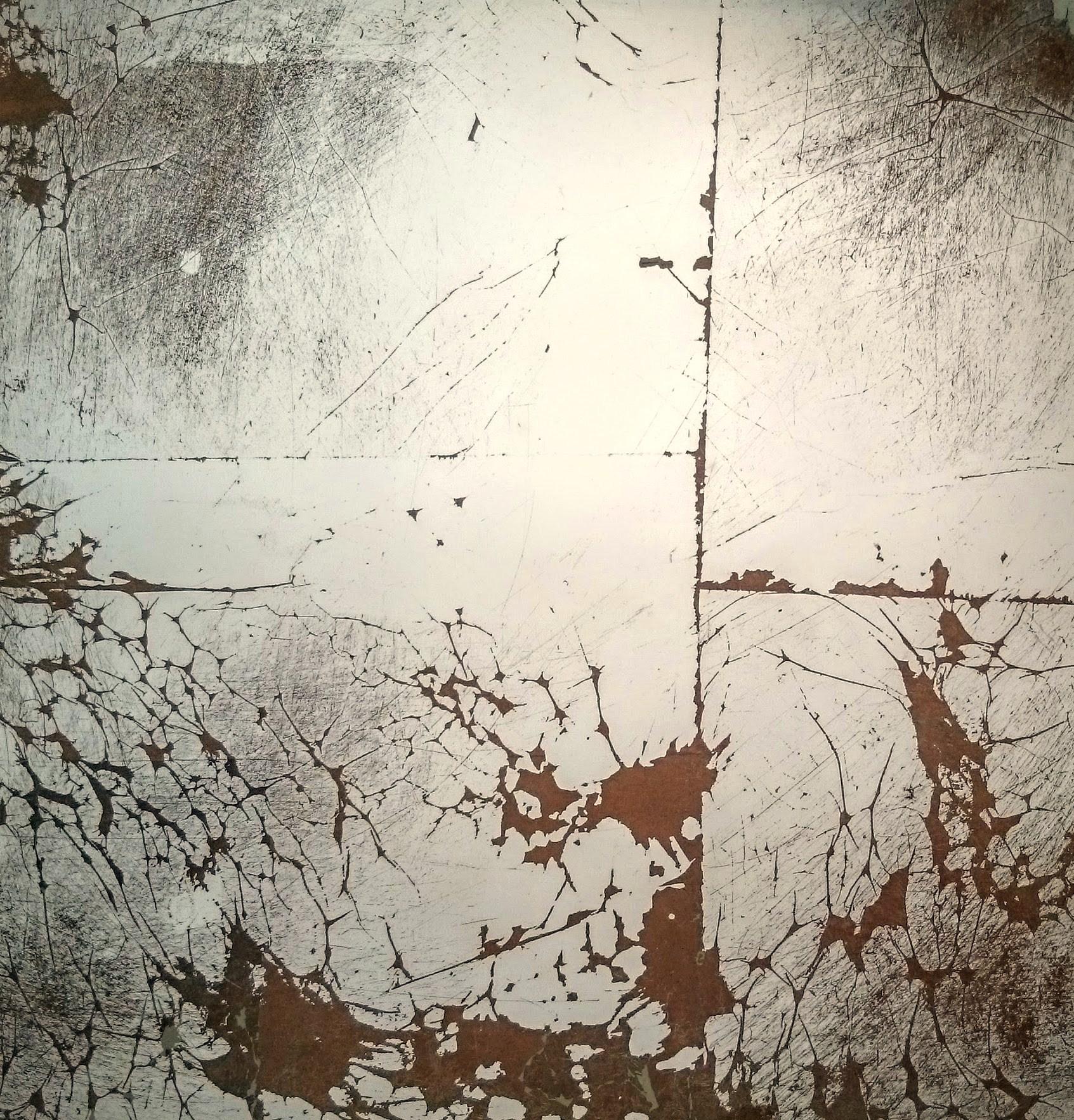 3. Verre Eglomise. Skaidrus stiklas dengtas sendinto vario ir sidabro lapeliais.