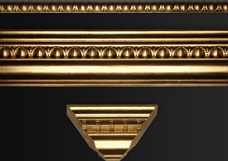 8.24 karatų aukso lapeliais padengti mediniai bagetai.