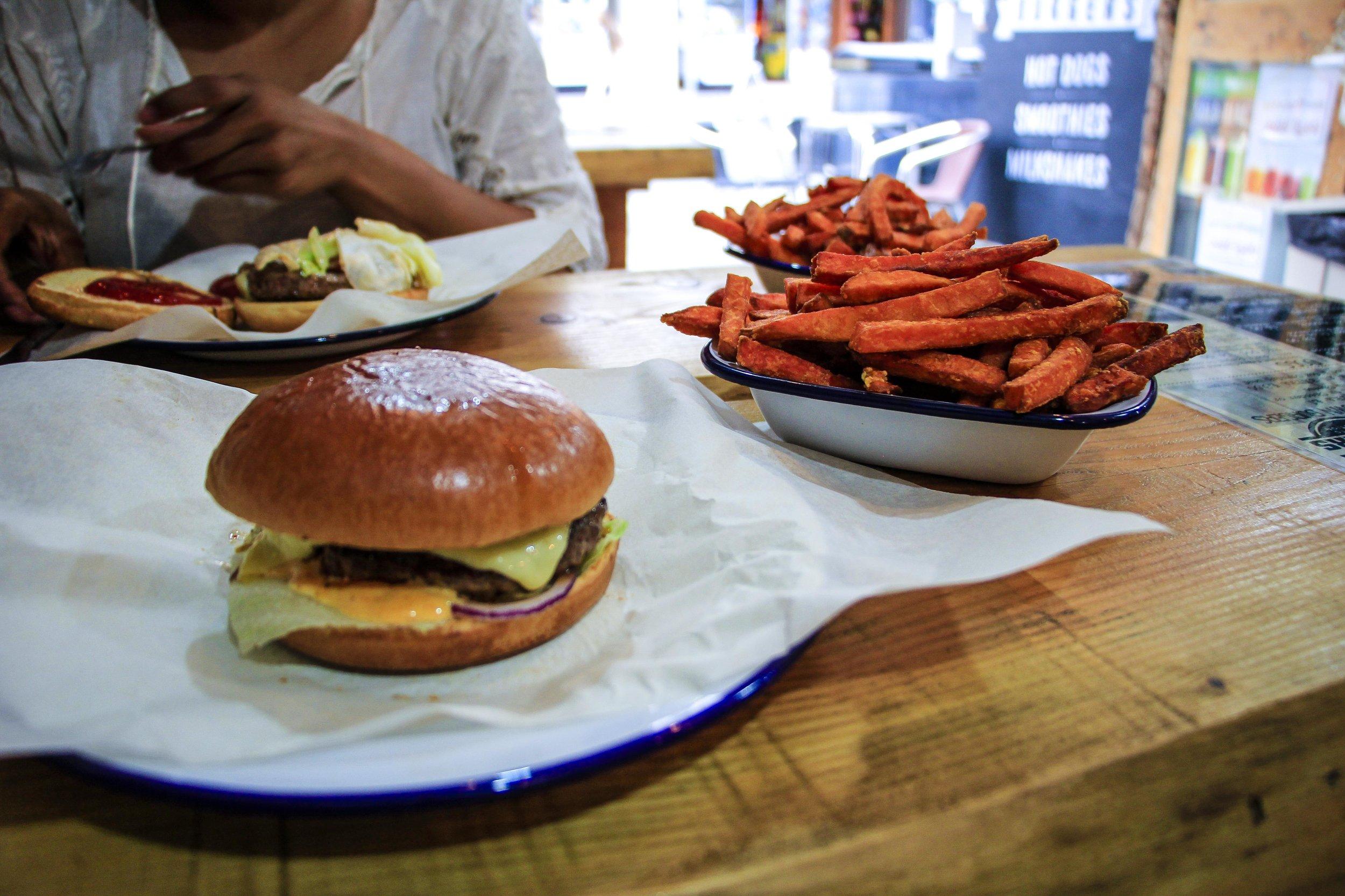 Burger and sweet potato at a burger joint